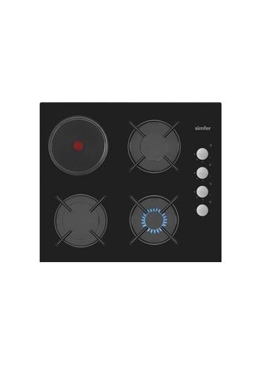 Simfer Simfer 3506 3 Gözü Gazlı, 1 Gözü Hotplateli Emaye Izgara Cam Ankastre Ocak Renkli